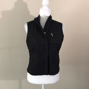 Talbots Petites Black Quilted Zip Up Vest